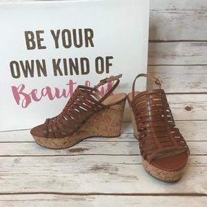 Frank Sarto Cognac Sombre Cork Wedge Sandals